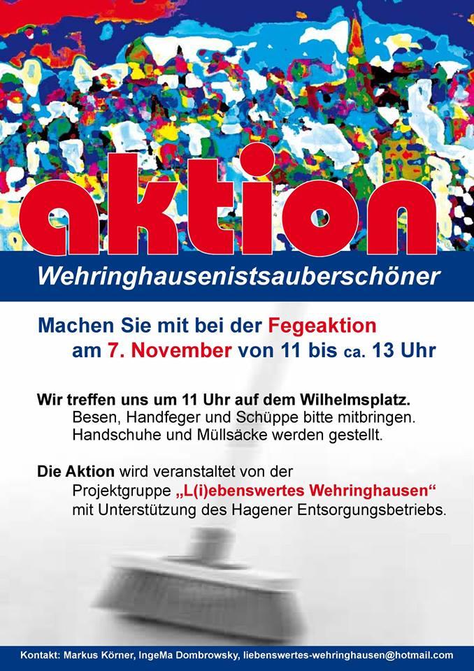 Die Projektgruppe L(i)ebenswertes Wehringhausen ruft zur Fegeaktion auf